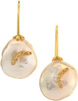 Indulgems Coin Pearl Drop Earrings