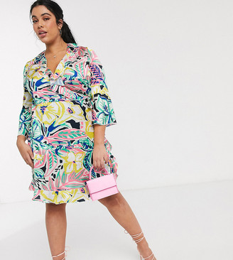 Outrageous Fortune Plus ruffle wrap dress in summer floral print