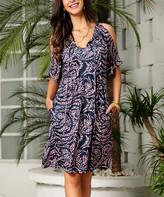Reborn Collection Women's Casual Dresses Navy - Navy & Pink Leopard-Print Swirl Cold-Shoulder Dress - Women & Plus