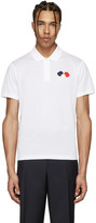 Moncler White Embroidered Polo