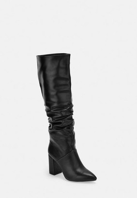 Missguided Black Faux Leather Ruched Knee High Boots