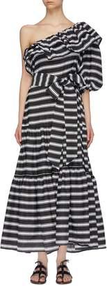 Lisa Marie Fernandez 'Arden' ruffle stripe tiered one-shoulder maxi dress