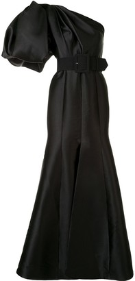 SOLACE London One-Shoulder Puff Sleeved Gown