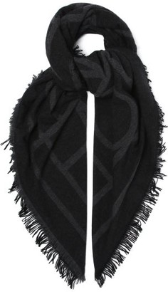 Totême Monogram-jacquard Wool-blend Scarf - Dark Grey