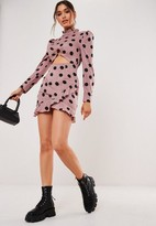 Missguided Blush Polka Dot High Neck Cut Out Mini Dress
