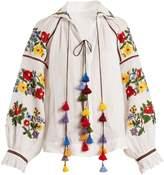 VITA KIN Bouclé embroidered mid-weight linen blouse