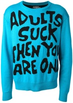 Jeremy Scott 'Adults Suck' crew neck sweater