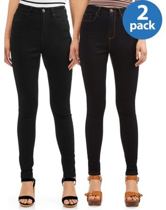 No Boundaries Juniors' High Rise Skinny Jeans, 2-Pack Bundle
