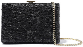 Halston Sequined Leather Box Clutch