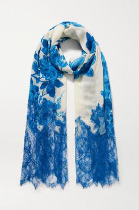 Valentino Garavani Lace-paneled Floral-print Cashmere And Wool-blend Scarf - Cream