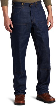 Key Apparel Men's Relaxed Fit Indigo Denim Double Front Logger Dungaree