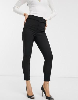 Stradivarius tailored pant with belt in black