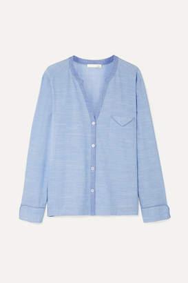 Skin - Jayne Cotton-chambray Pajama Shirt - Light denim