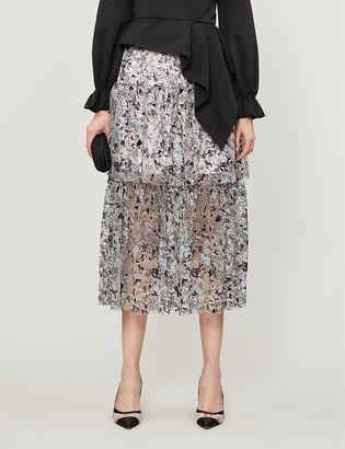 Self-Portrait Constellation high-waist embellished mesh skirt