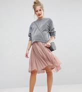 Asos Over The Bump Pleated Midi Skirt