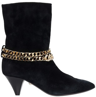 ALEVÌ Milano Futura 055 Low Heels Ankle Boots In Black Suede