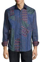 Robert Graham Glasgow Multi-Pattern Woven Sport Shirt, Blue