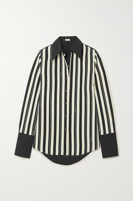 Loewe Striped Wool-twill And Cotton-poplin Shirt - Black