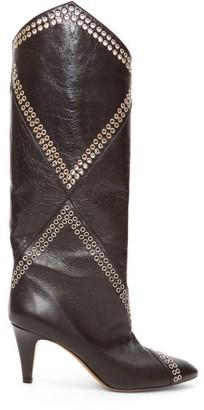 Isabel Marant Lahia Eyelet-embellished Leather Boots - Black