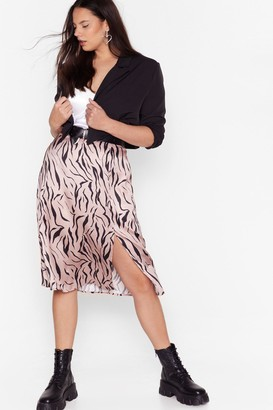 Nasty Gal Womens High-Waisted Plus Size Midi Skirt in Zebra Print - Nude