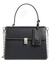Valentino Rockstud Calfskin Leather Single Handle Shoulder Bag - Black