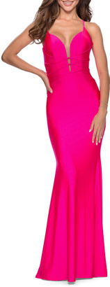 La Femme Banded Bodice Strappy Back Jersey Gown