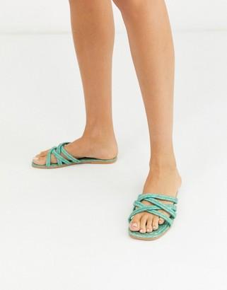ASOS DESIGN Jazzie espadrille flat sandals in mint