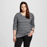 Women's Plus Luxe Crew Neck Sweater Gray Stripe - Mossimo