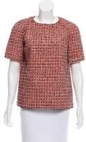 Victoria Beckham Short Sleeve Tweed Top
