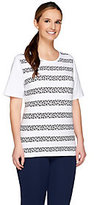 Denim & Co. Round Neck Short Sleeve Star Stripe Printed T-Shirt