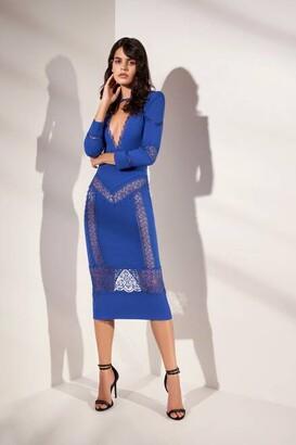 ZUHAIR MURAD Long Sleeve Lace-Detail Cady Midi Dress