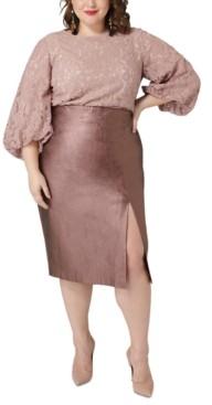 Marée Pour Toi Plus Size Metallic Faux-Leather Midi Skirt