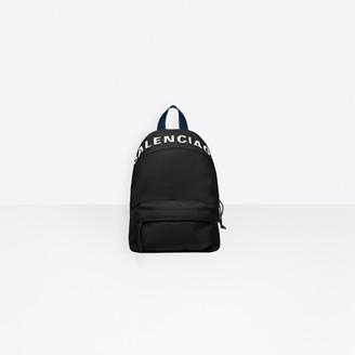 Balenciaga Wheel Backpack in black nylon and embroidered logo