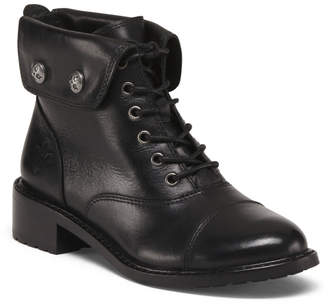 Foldover Leather Combat Boots