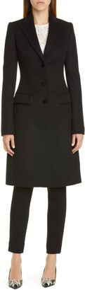 Dolce & Gabbana Velvet Button Wool & Cashmere Coat