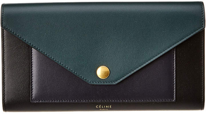 Celine Pocket Trifold Smooth Calfskin Leather Continental Wallet