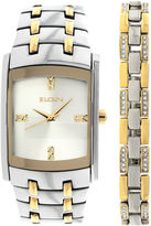 Elgin Mens Two-Tone Crystal Watch and Bracelet