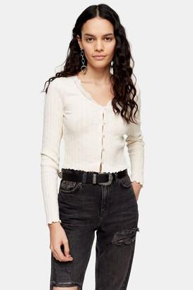 Topshop Cream Long Sleeve Ribbed Lace Trim Cardigan
