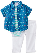 Quiltex Baby Aboard Striped Bodysuit, Printed Shirt, & Roll Cuff Pant Set (Baby Boys)