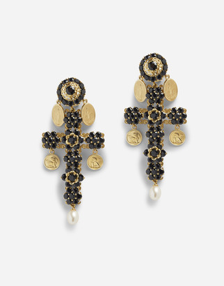Dolce & Gabbana Cross Earrings With Sapphires And Medallions