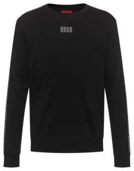 HUGO BOSS Interlock Cotton Sweatshirt With Vertical Logo Tape Sleeves - light pink