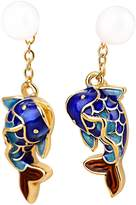 BC Chinese Style Good Luck Cloisonné Koi fish Pearl Earring