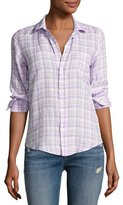 Frank And Eileen Barry Grid Check Oxford Shirt, Purple
