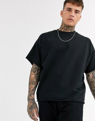 Asos DESIGN heavyweight oversized t-shirt with crew neck and raw edges in black marl