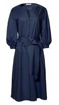Tibi Satin Poplin Splitneck Dress
