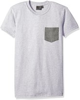 Naked & Famous Denim Men's Heather Kimono Eye Short Sleeve Pocket Tee Shirt, Grey
