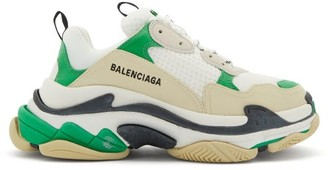 Balenciaga Triple S Leather And Mesh Trainers - Green White