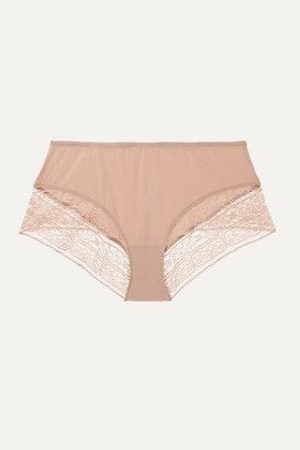 Eres Caraco Paletot Lace-trimmed Stretch-jersey Boy Shorts - Blush