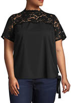 Boutique + + Short Sleeve Mock Neck Woven Blouse - Plus
