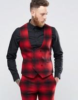 Noose & Monkey Skinny DB Vest In Ombre Check